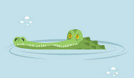 Krokodil in water grote alligator in moeras vector illustratie