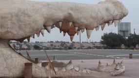 Krokodilen parkerar ingången - DRARGA - AGADIR - MAROCKO arkivfoto