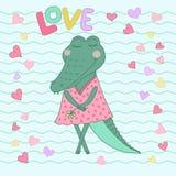 Krokodilflicka med stängda ögon som har blomman i hennes hand Arkivfoton