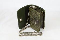 Krokodilhautkupplungs-Tageshandtasche der Frauen grüne Stockbilder