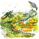 Krokodilillustratie met de geweven achtergrond van de plonswaterverf stock illustratie