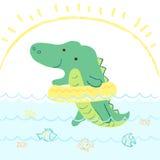 Krokodilillustration Royaltyfri Bild