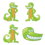 Krokodilkarikaturmaskottchen in den verschiedenen Haltungen Lizenzfreies Stockbild