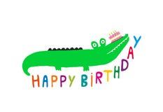 Krokodilkort för lycklig födelsedag Stock Illustrationer