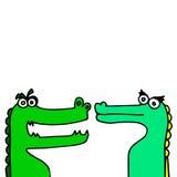 Krokodille groen het beeldverhaal roofdierreptiel van de krokodil dierlijk vectorillustratie Stock Foto