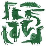 Krokodillen en dinosaurussen stock illustratie