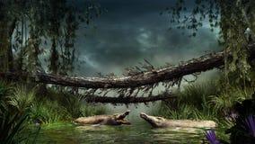 Krokodillen in het moeras stock illustratie