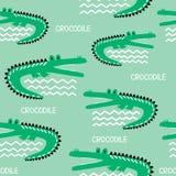 Krokodillen, kleurrijk naadloos patroon stock illustratie