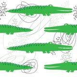 Krokodillen, olorful naadloos patroon Ñ  Decoratieve leuke achtergrond met reptielen stock illustratie