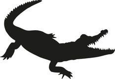 Krokodillesilhouet Stock Foto's