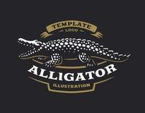 Krokodillogo - vektorillustration Alligatoremblemdesign royaltyfri illustrationer