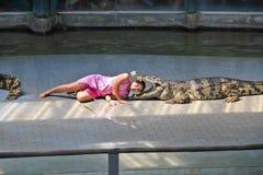 krokodilshow thailand Fotografering för Bildbyråer