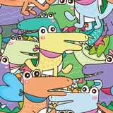 Krokodilvän många och upptaget sömlöst vektor illustrationer