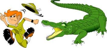Krokodyl i myśliwy Obrazy Royalty Free