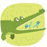 Krokodyl i ptak Obrazy Stock
