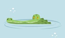Krokodyl w wodzie wielki aligator w bagnie ilustracja wektor