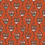 Krokus der Art-50s blüht Vektor-Muster-Handgezogene nahtlose Weinlese-Blumen-Illustration lizenzfreie abbildung