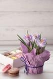 Krokussenpot en doos macarons stock afbeeldingen