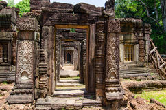 Krol Ko temple, decorative doorways ruins day Royalty Free Stock Images
