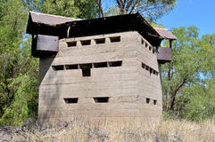 Krom River Blockhouse next to Krom River railway bridge Stock Photo
