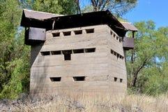 Krom River Blockhouse next to Krom River railway bridge Stock Photo