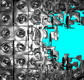 kromen för silver 3d exploderade ljud-systemet på blue Royaltyfria Foton