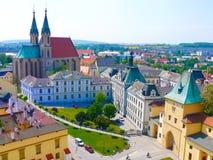 Kromeriz KromÄ› Å™ÃÅ ¾ - een stadscentrum met de kathedraal, Tsjechische republiek Royalty-vrije Stock Fotografie