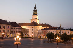 Kromeriz square. Illuminated Kromeriz square with castle during dusk Stock Image