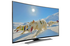 Kromme slimme TV Royalty-vrije Stock Foto