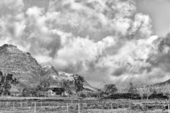 Snow is visible on the mountains at Kromrivier Cederberg. Monochrome. KROMRIVIER, SOUTH AFRICA, AUGUST 26, 2018: Snow is visible on the mountains at Kromrivier stock photography
