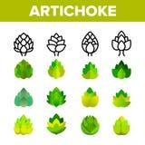 Kronärtskocka uppsättning för symboler för gourmet- kokkonstvektor linjär stock illustrationer
