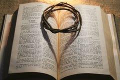 Krona av taggar och bibeln Arkivbild