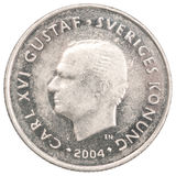 Krona coin. 1 krona with the portrait of Charles on a white background Stock Photography