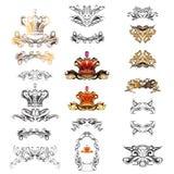 Krona dekorativa beståndsdelar i tappningstil vektor illustrationer