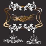 Krona dekorativa beståndsdelar i tappningstil stock illustrationer