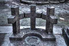 Krona för dipsoste för tre kors halvcirkelformig av taggar av Jesus Arkivfoto