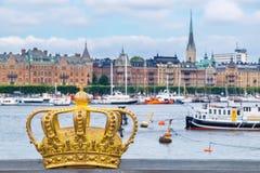 krona guld- stockholm sweden Arkivbild