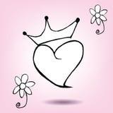 Krona med hjärta Royaltyfri Bild