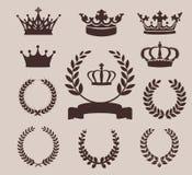 Krona- och kranssymboler också vektor för coreldrawillustration Royaltyfri Fotografi