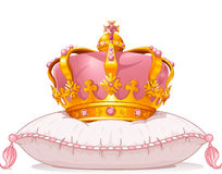 Krona på kudden royaltyfri illustrationer