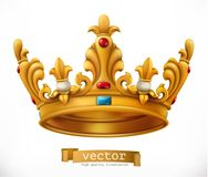 kronaguld pryder med pärlor röda rubies konung gears symbolen vektor illustrationer