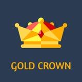 kronaguld pryder med pärlor röda rubies Plan illustration för vektor Fotografering för Bildbyråer