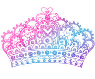 kronan klottrar den sketchy tiaraen för anteckningsbokprincessen Royaltyfria Bilder
