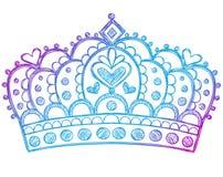 kronan klottrar den sketchy tiaraen för anteckningsbokprincessen Royaltyfri Bild