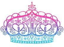 kronan klottrar den sketchy tiaraen för anteckningsbokprincessen stock illustrationer