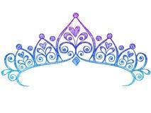 kronan klottrar den sketchy tiaraen för anteckningsbokprincessen Royaltyfri Foto