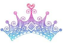 kronan klottrar den sketchy tiaraen för anteckningsbokprincessen Arkivbild