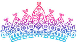 kronan klottrar den sketchy tiaraen för anteckningsbokprincessen Arkivfoton