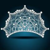 Kronatiara med den pärlemorfärg vita kvinnlign royaltyfri illustrationer