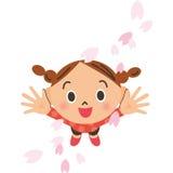 Kronblad och flicka för körsbärsröd blomning stock illustrationer